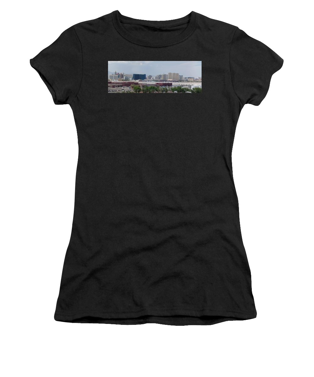 Lv Women's T-Shirt (Athletic Fit) featuring the photograph Las Vegas Pano Section 2 Of 3 by Gravityx9 Designs