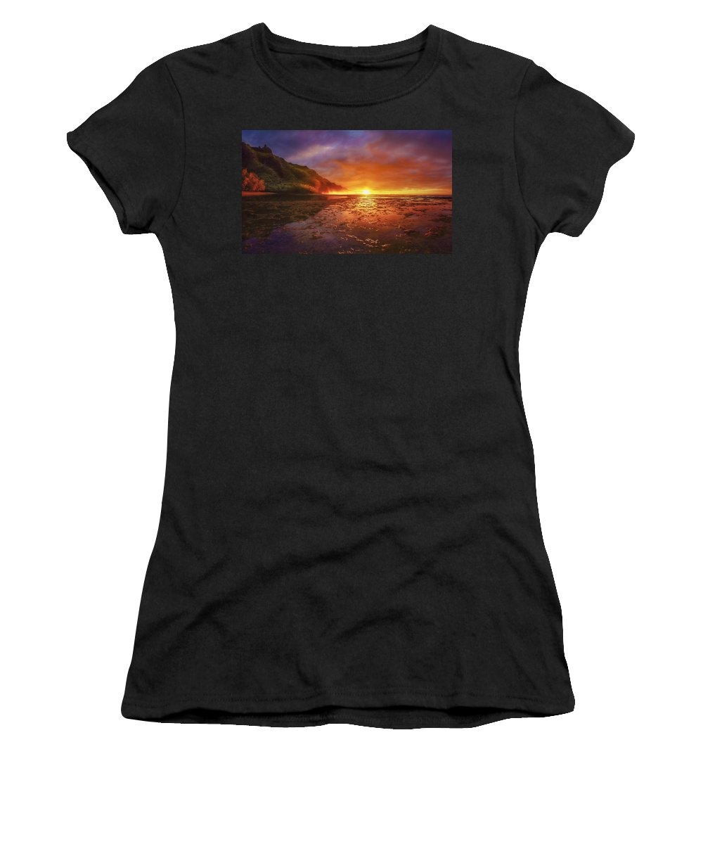 Hawaii Kauai Beach Sunset Women's T-Shirt featuring the photograph Last Light by John Simon