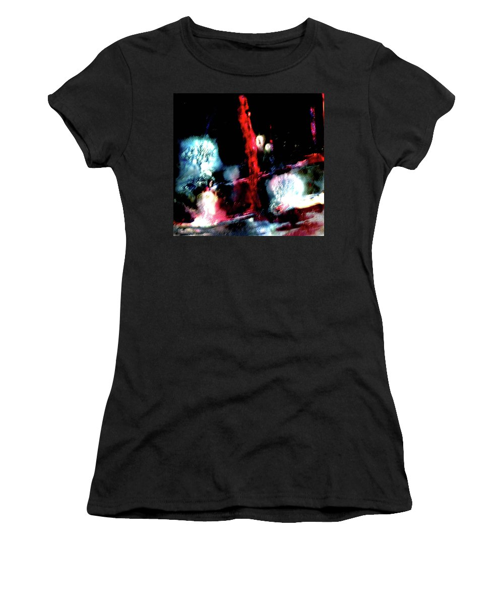 Red Women's T-Shirt (Athletic Fit) featuring the painting Last Night by Janice Nabors Raiteri