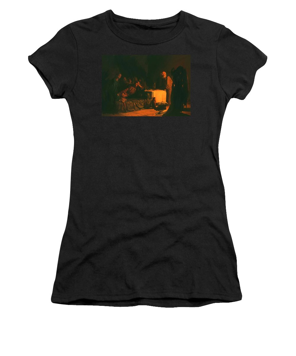 Last Women's T-Shirt (Athletic Fit) featuring the painting Last Supper by Ge Nikolai