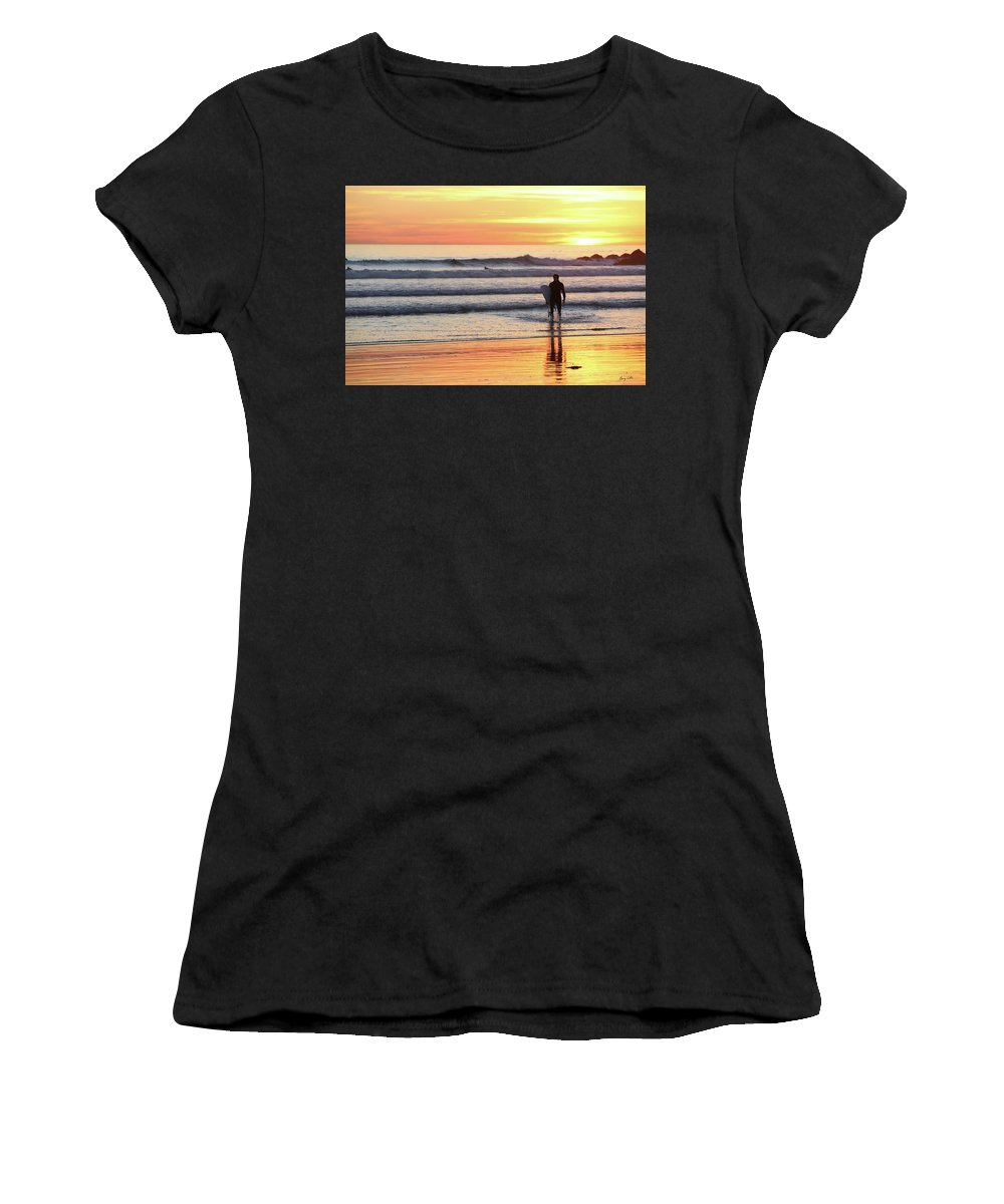 Sunset Women's T-Shirt featuring the photograph Last Wave Of The Day by George Hobbs