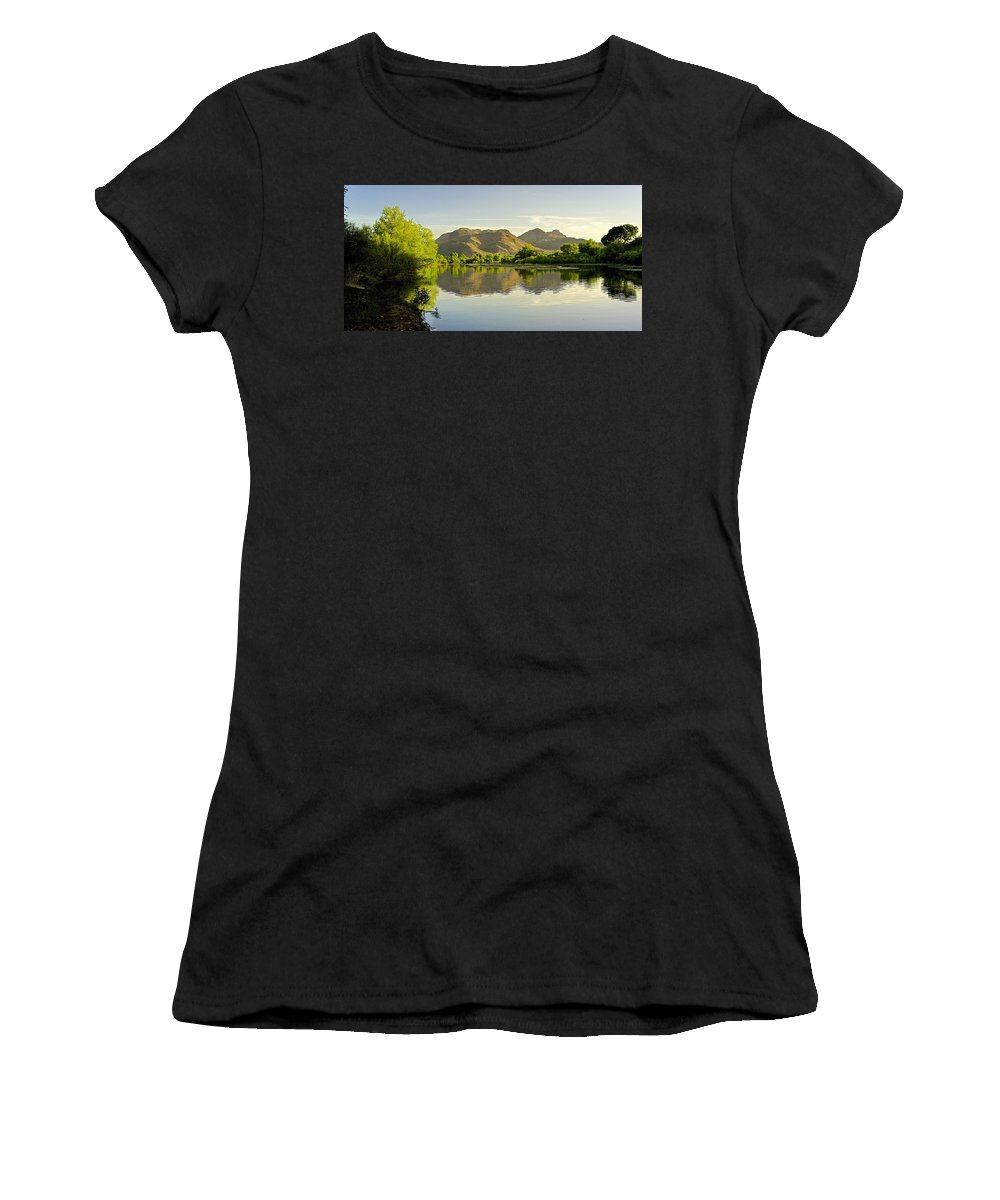 River Women's T-Shirt featuring the photograph Late Afternoon At Rio Verde River by Barbara Zahno