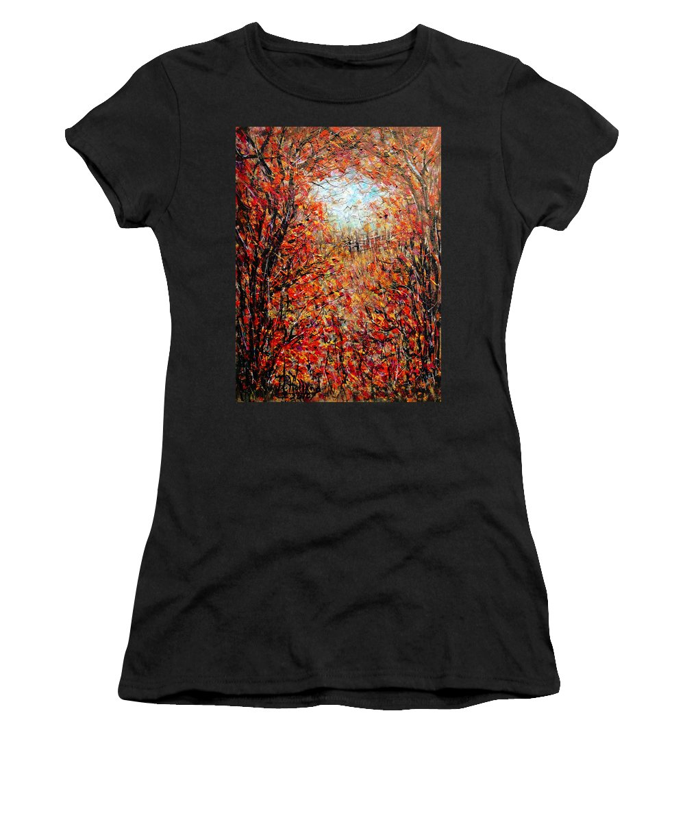 Autumn Women's T-Shirt (Athletic Fit) featuring the painting Late Autumn by Natalie Holland