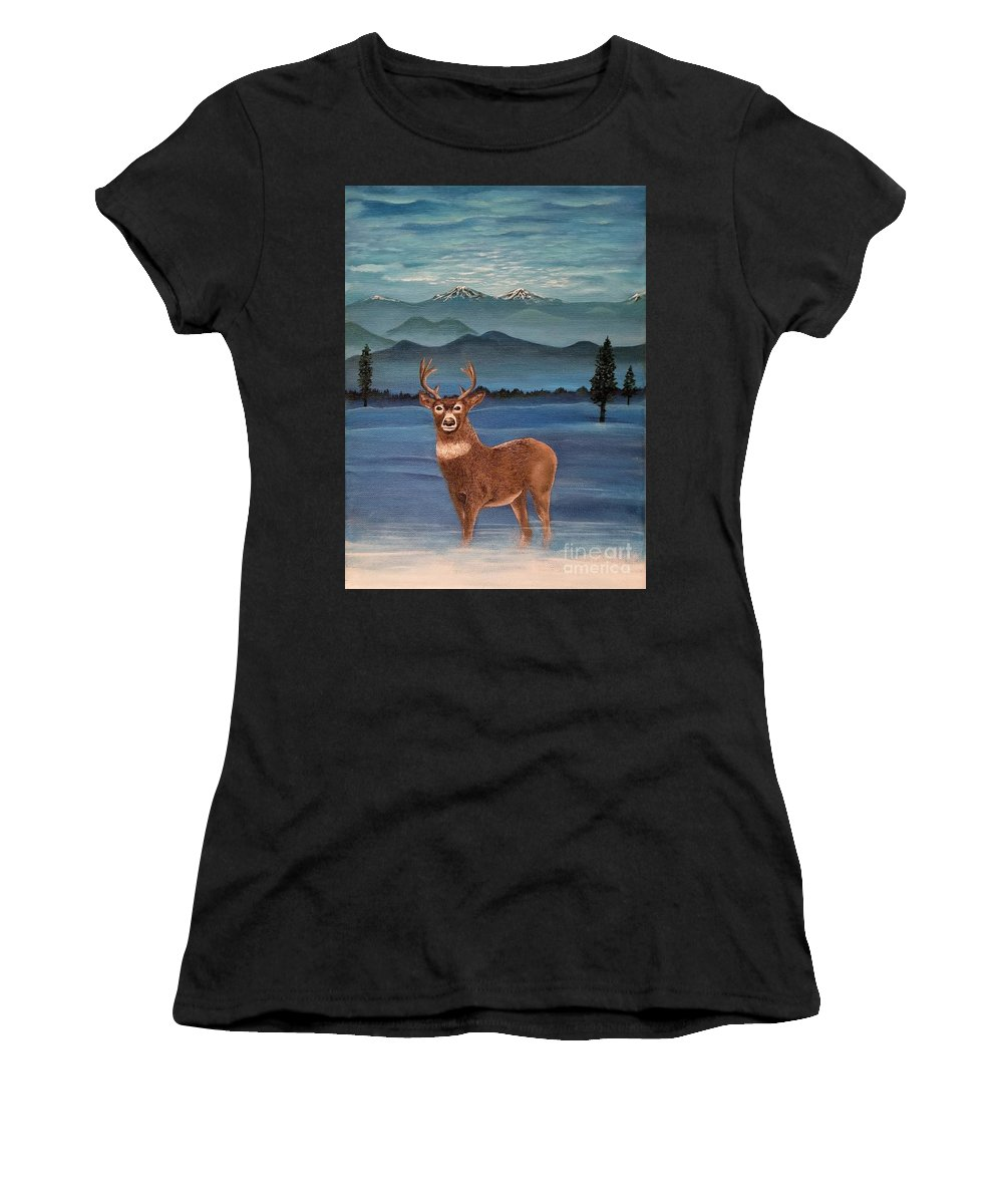 Deer Women's T-Shirt (Athletic Fit) featuring the painting Late Autumn Sunrise by Audra Harley