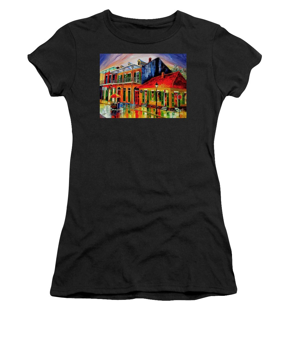 New Orleans Women's T-Shirt featuring the painting Late On Bourbon Street by Diane Millsap