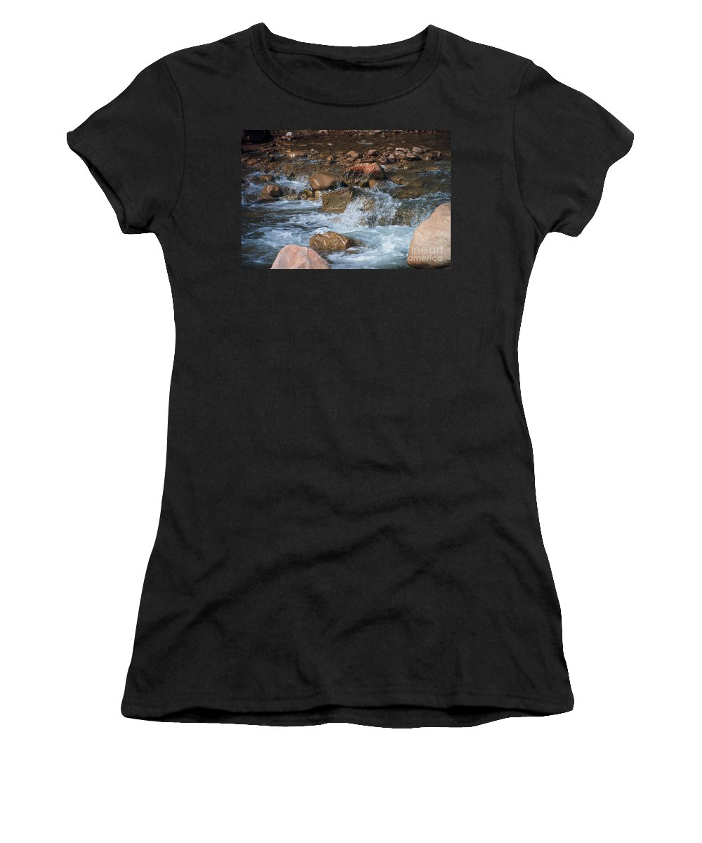 Creek Women's T-Shirt (Athletic Fit) featuring the photograph Laughing Water by Kathy McClure