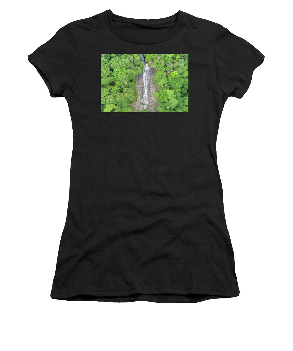 Marquette Women's T-Shirt (Athletic Fit) featuring the digital art Laughing Whitefish Falls by Bradley J Nelson
