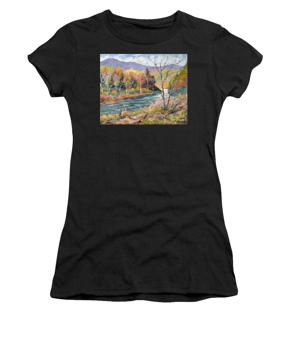 Landscape Women's T-Shirt featuring the painting Laurentian Hills by Richard T Pranke