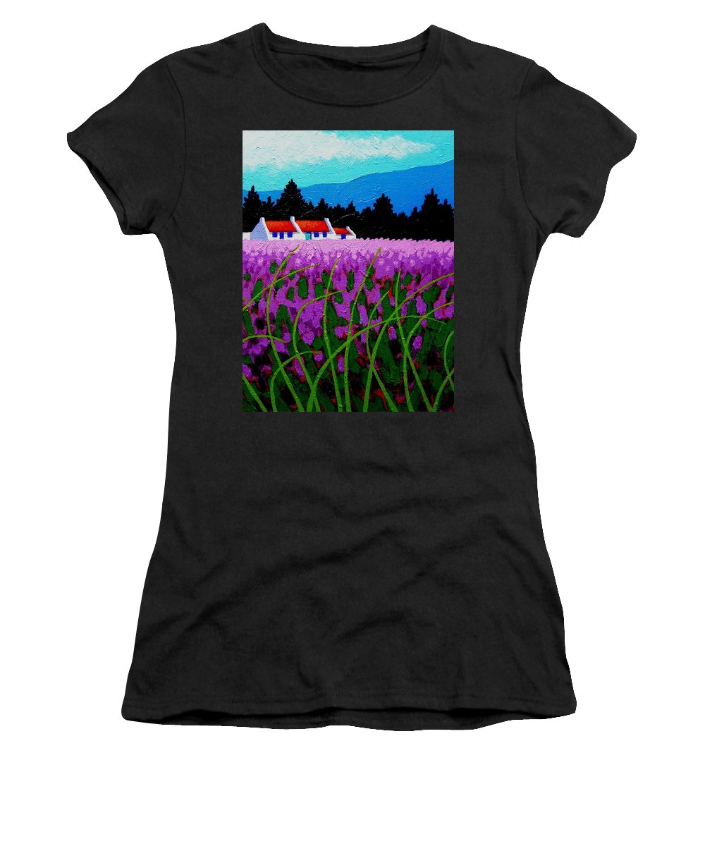Lavender Women's T-Shirt featuring the painting Lavender Field - County Wicklow - Ireland by John Nolan