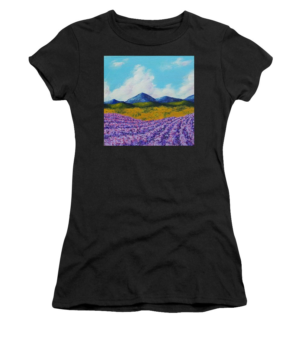 Art & Collectibles Painting Provence France Mediterranean Art French Countryside Landscape Painting Lavender Fields Mountain Scenery Hillside Painting Tree Artwork Purple Home Decor Modern Green Design Yellow Artwork Blue Modern Design Ooak One Of A Kind Women's T-Shirt (Athletic Fit) featuring the painting Lavender In Provence by Mike Kraus