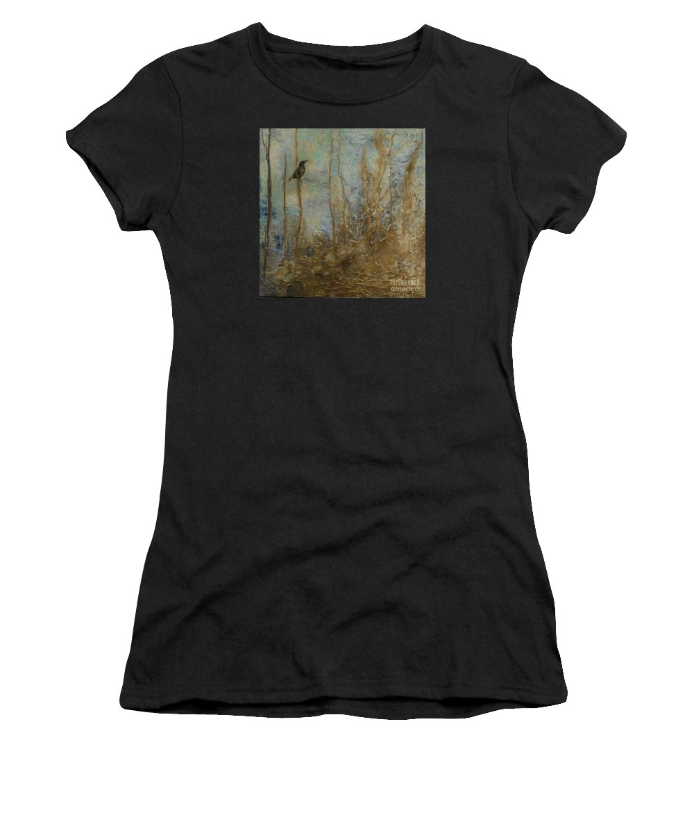 Bird Women's T-Shirt (Athletic Fit) featuring the painting Lawbird by Heather Hennick