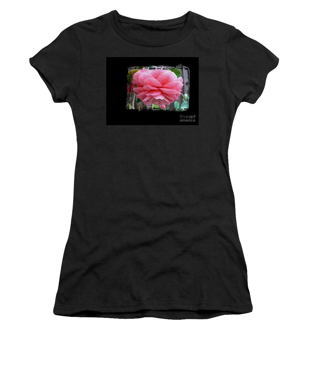 Pink Camellia Women's T-Shirt featuring the digital art Layers Of Pink Camellia Dream by Carol Groenen
