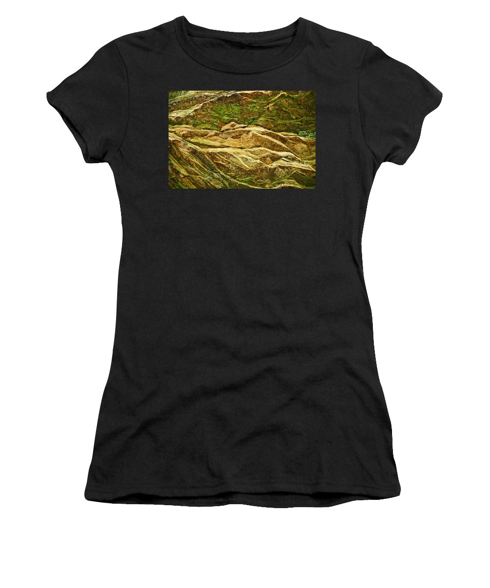 Rocks Layers Geology Moss Photography Photograph Art Digital Women's T-Shirt (Athletic Fit) featuring the photograph Layers by Shari Jardina