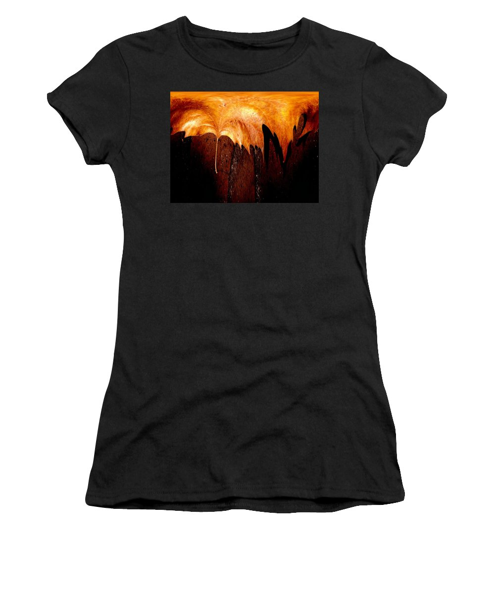 Leaf Women's T-Shirt (Athletic Fit) featuring the photograph Leaf On Bricks 2 by Tim Allen