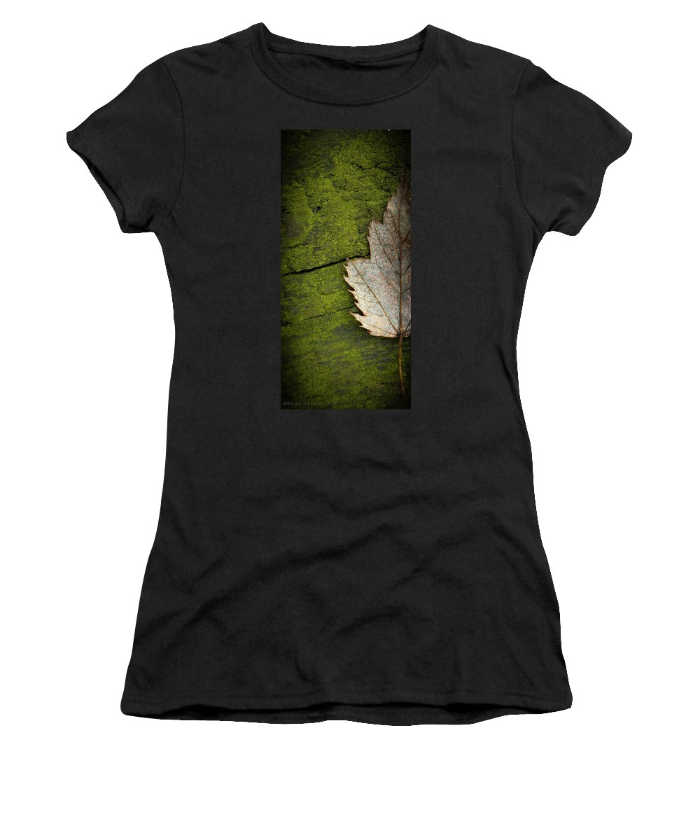 Leaf Women's T-Shirt (Athletic Fit) featuring the photograph Leaf On Green Wood by Henri Irizarri