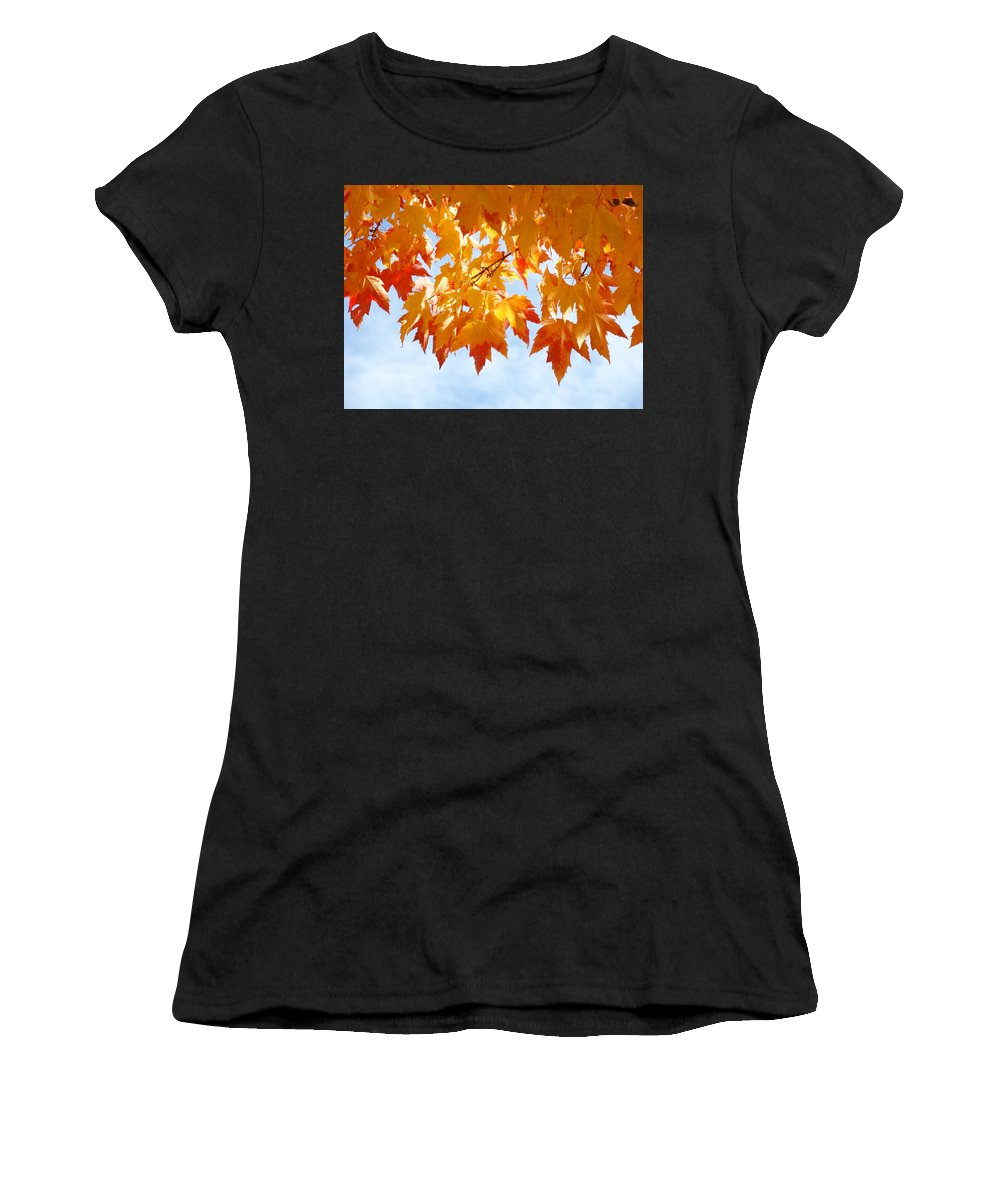 Autumn Women's T-Shirt (Athletic Fit) featuring the photograph Leaves Nature Art Orange Autumn Tree Leaves by Baslee Troutman