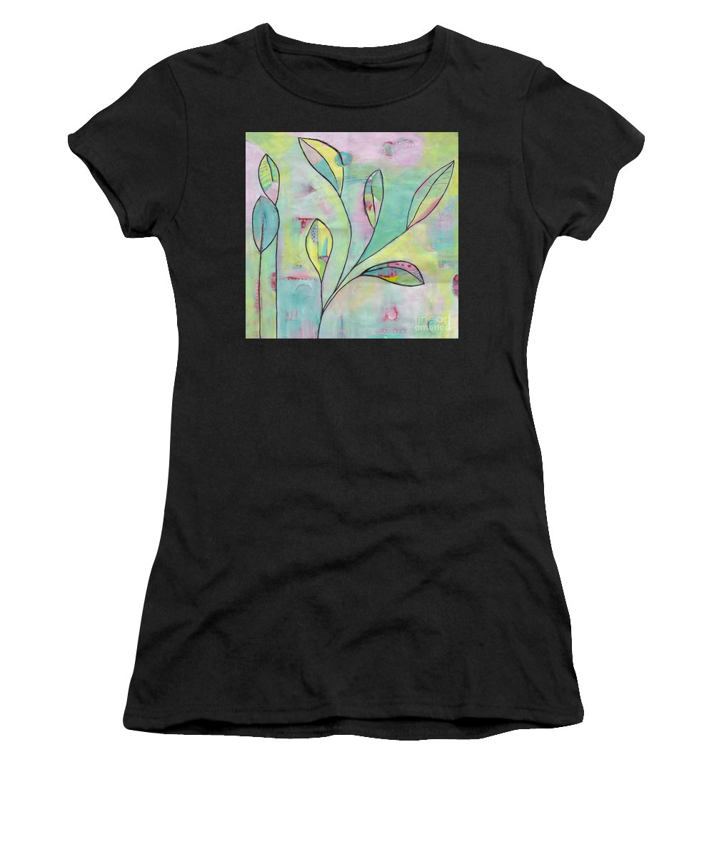 Leaves Women's T-Shirt (Athletic Fit) featuring the painting Leaves On Abstract Background by Patricia Cleasby