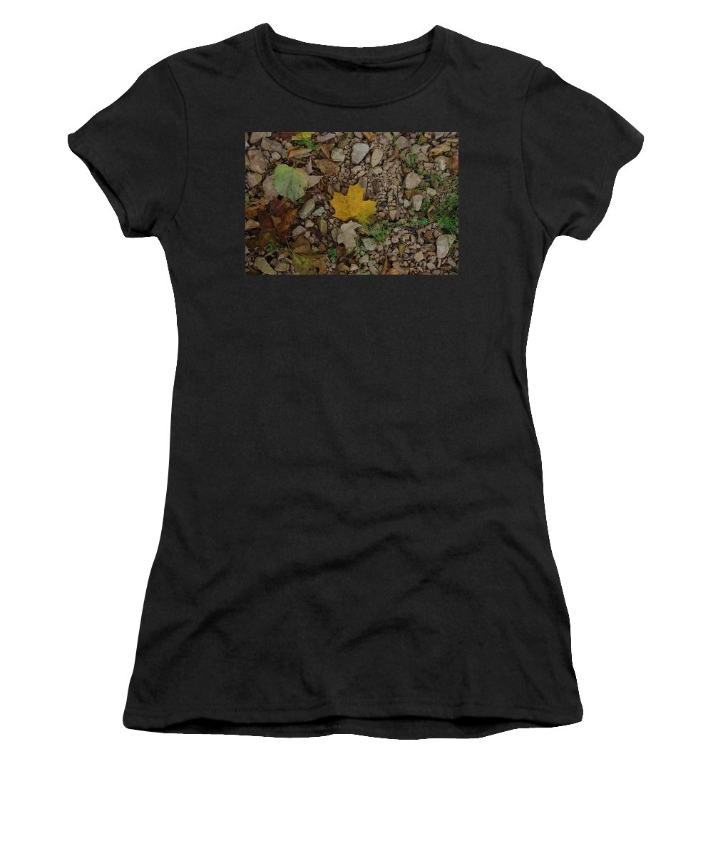 Leaves Women's T-Shirt (Athletic Fit) featuring the photograph Leaves On The Rocks by Alice Markham