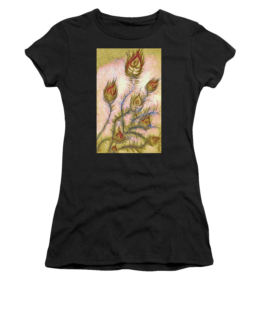 Flower Women's T-Shirt (Athletic Fit) featuring the painting Leaving Summer Flowers by Alex Galkin