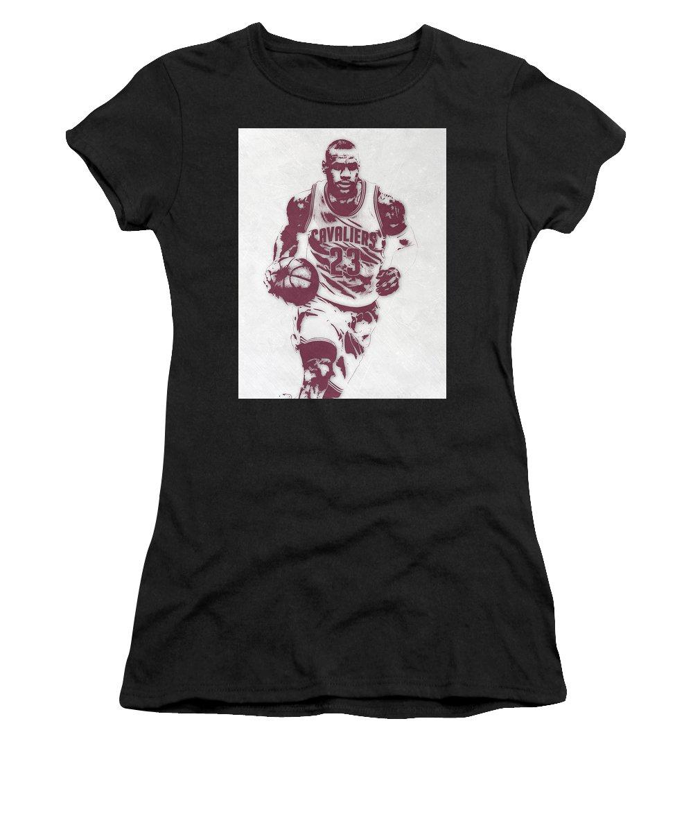 newest 0c9b8 24100 Lebron James Cleveland Cavaliers Pixel Art 4 Women's T-Shirt