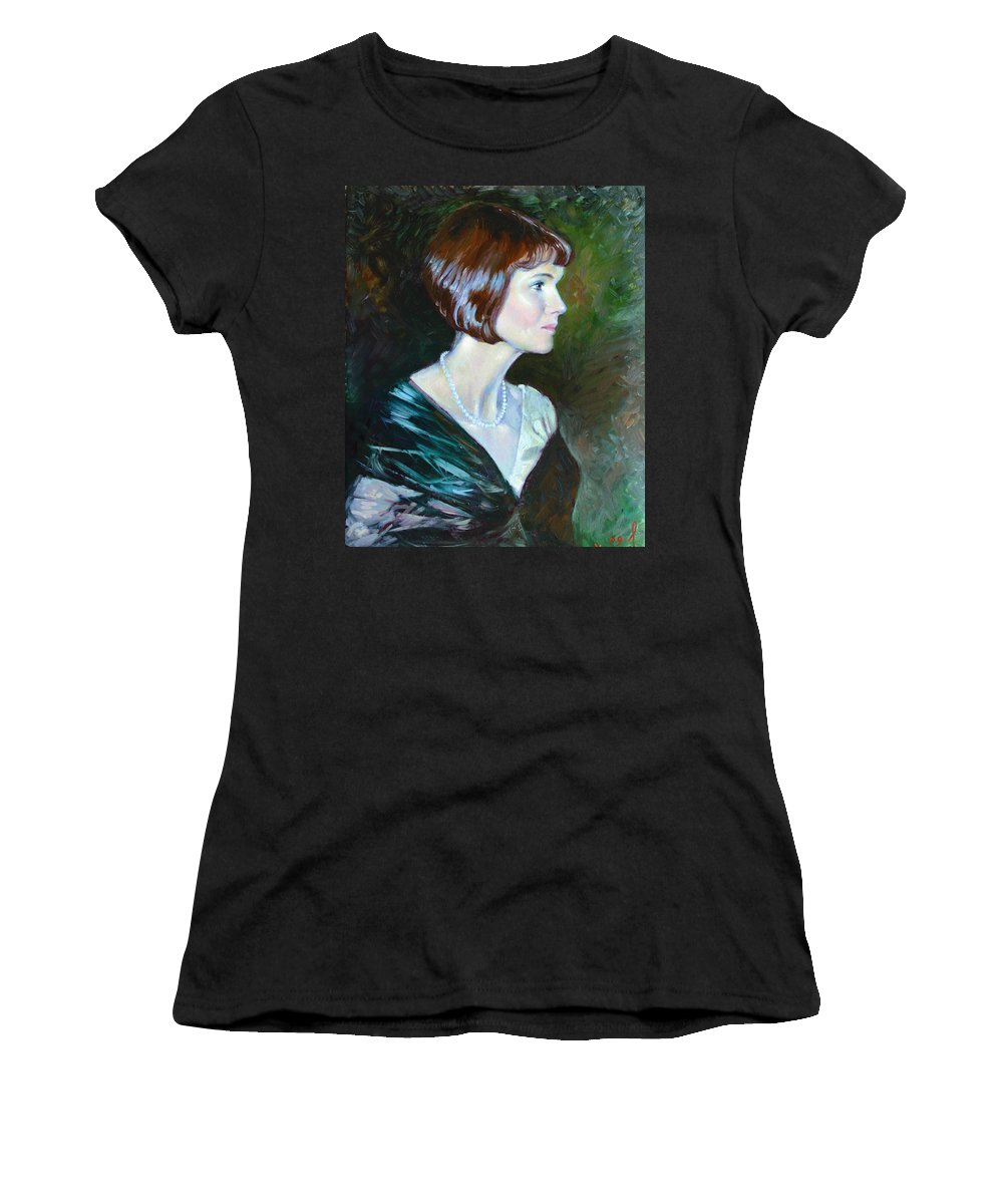 Portrait Women's T-Shirt (Athletic Fit) featuring the painting Ledy In Green by Ylli Haruni