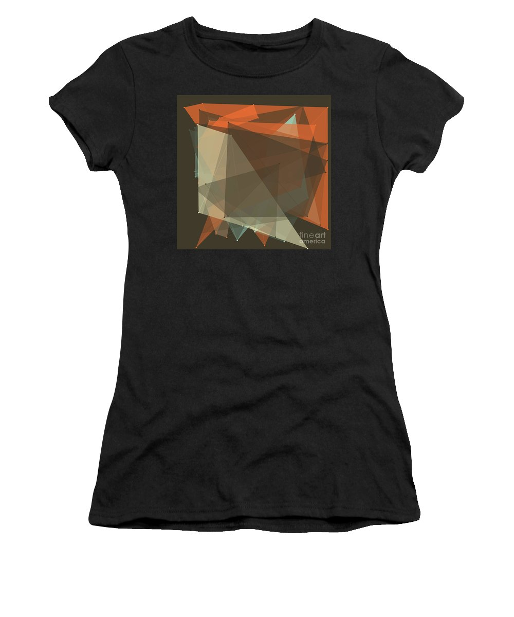 Abstract Women's T-Shirt (Athletic Fit) featuring the digital art Lemans Polygon Pattern by Frank Ramspott