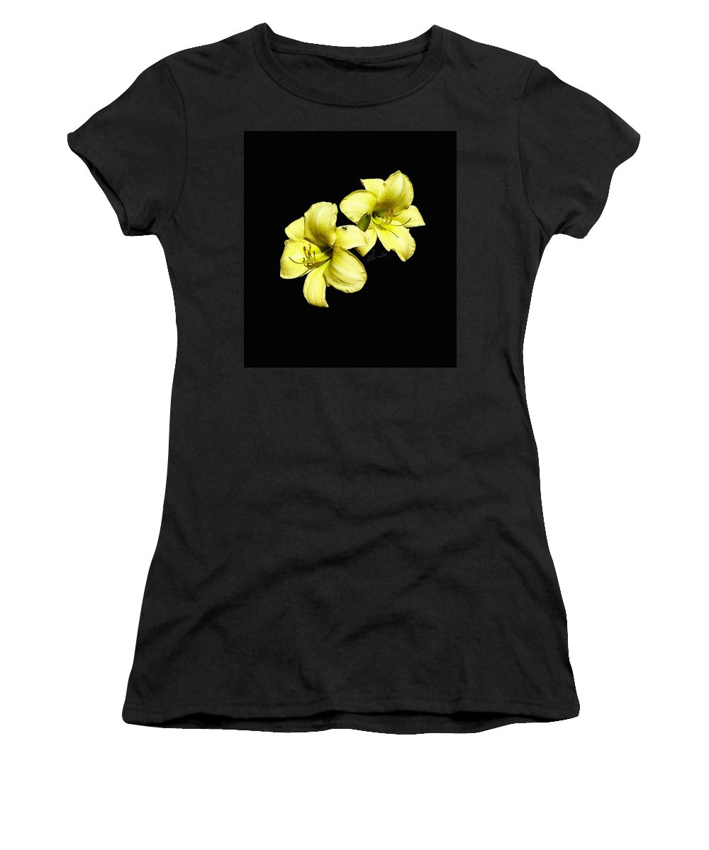 Yellow Lillies Women's T-Shirt (Athletic Fit) featuring the photograph Lemon Lilies by T Cook