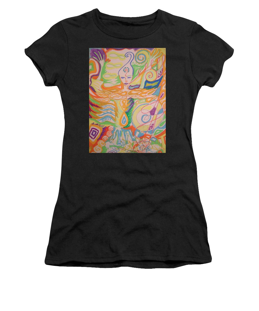 Atlantis Women's T-Shirt featuring the painting Lemurian Healer by Jelila