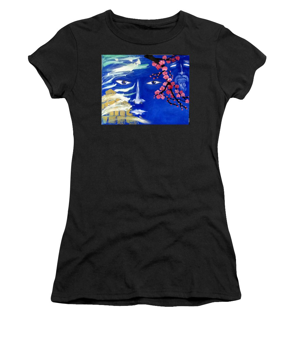 Abstract Women's T-Shirt (Athletic Fit) featuring the painting Lemurians by Inessa Guterman