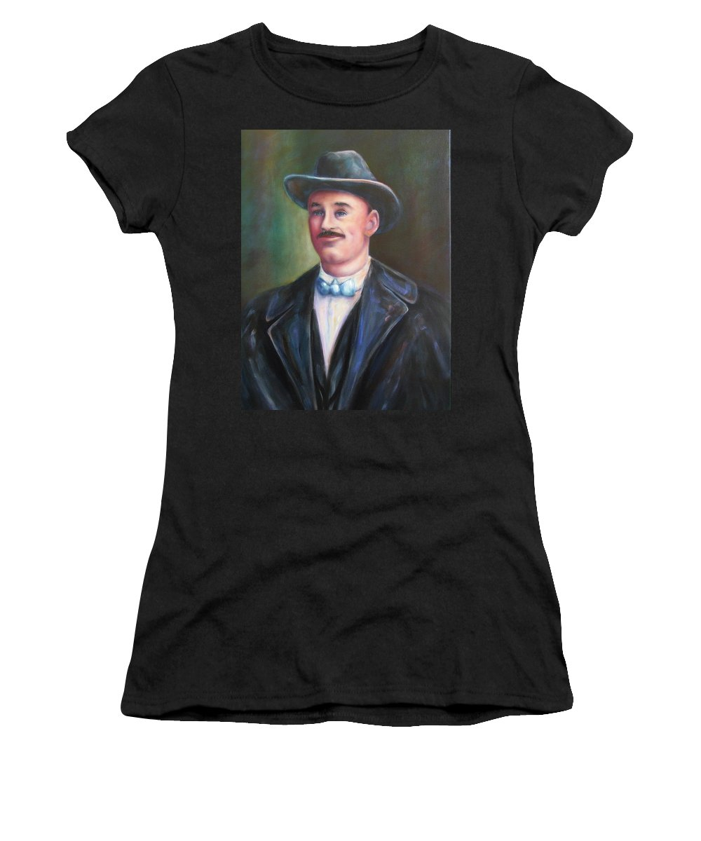 Portrait Women's T-Shirt (Athletic Fit) featuring the painting Leonard Mckay by Shannon Grissom