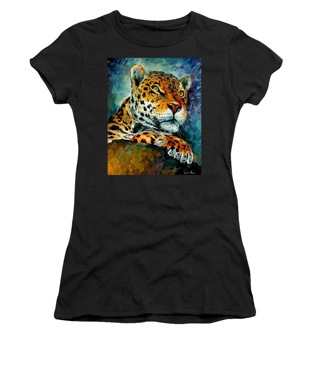 Animals Women's T-Shirt (Athletic Fit) featuring the painting Leopard by Leonid Afremov