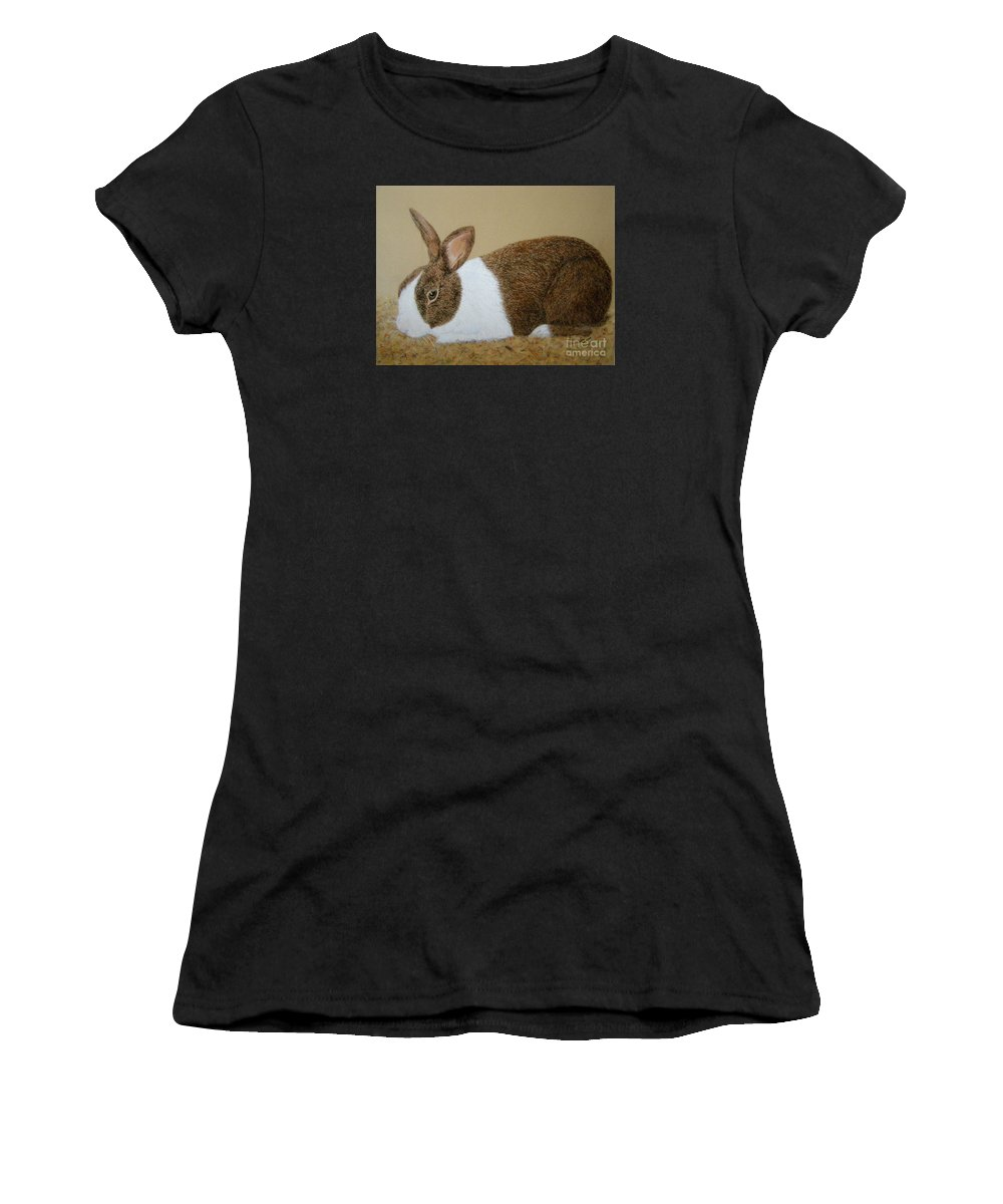 Bunny Women's T-Shirt (Athletic Fit) featuring the painting Les's Rabbit by Lynn Quinn