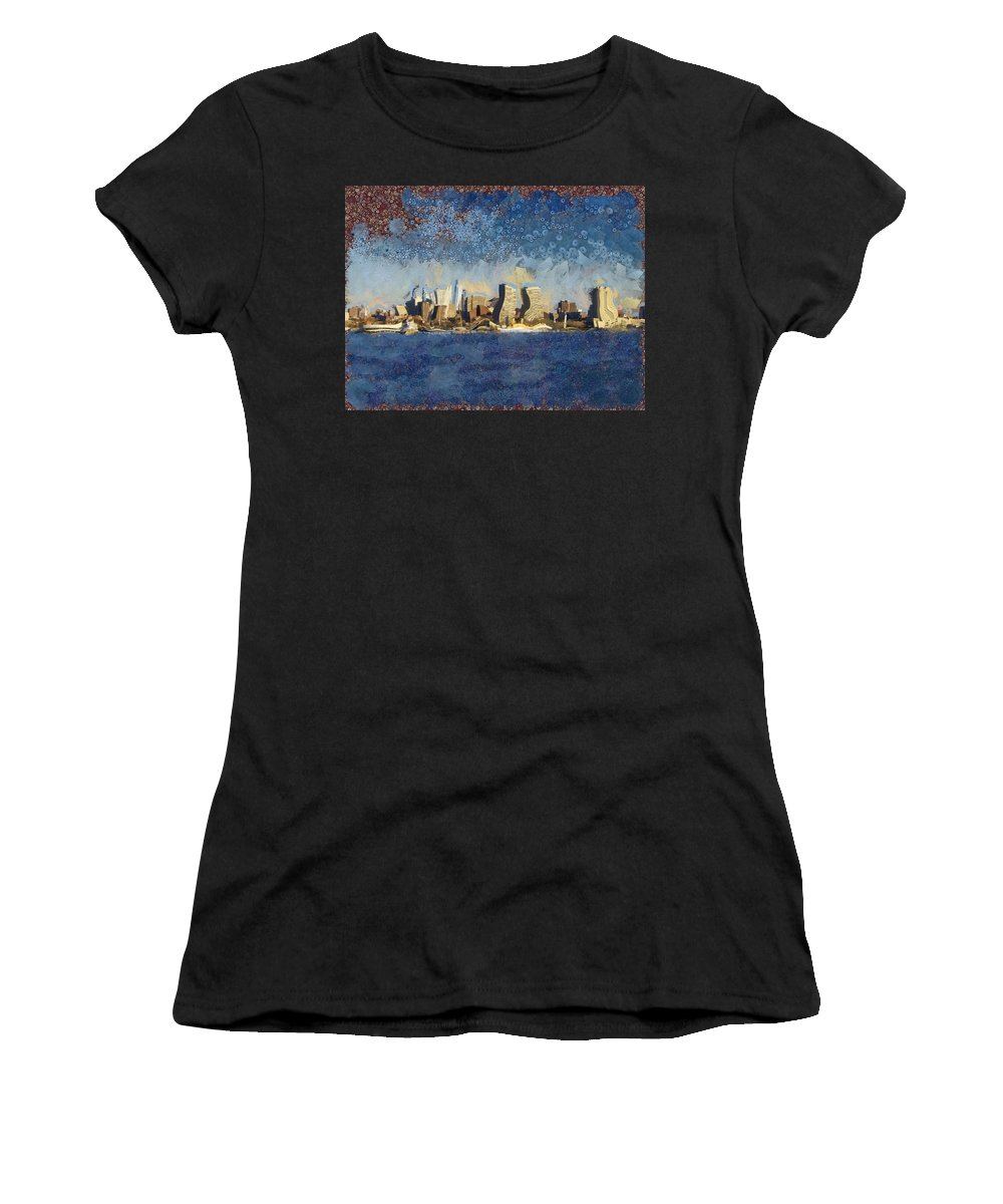 Building Women's T-Shirt (Athletic Fit) featuring the mixed media Less Wacky Philly Skyline by Trish Tritz