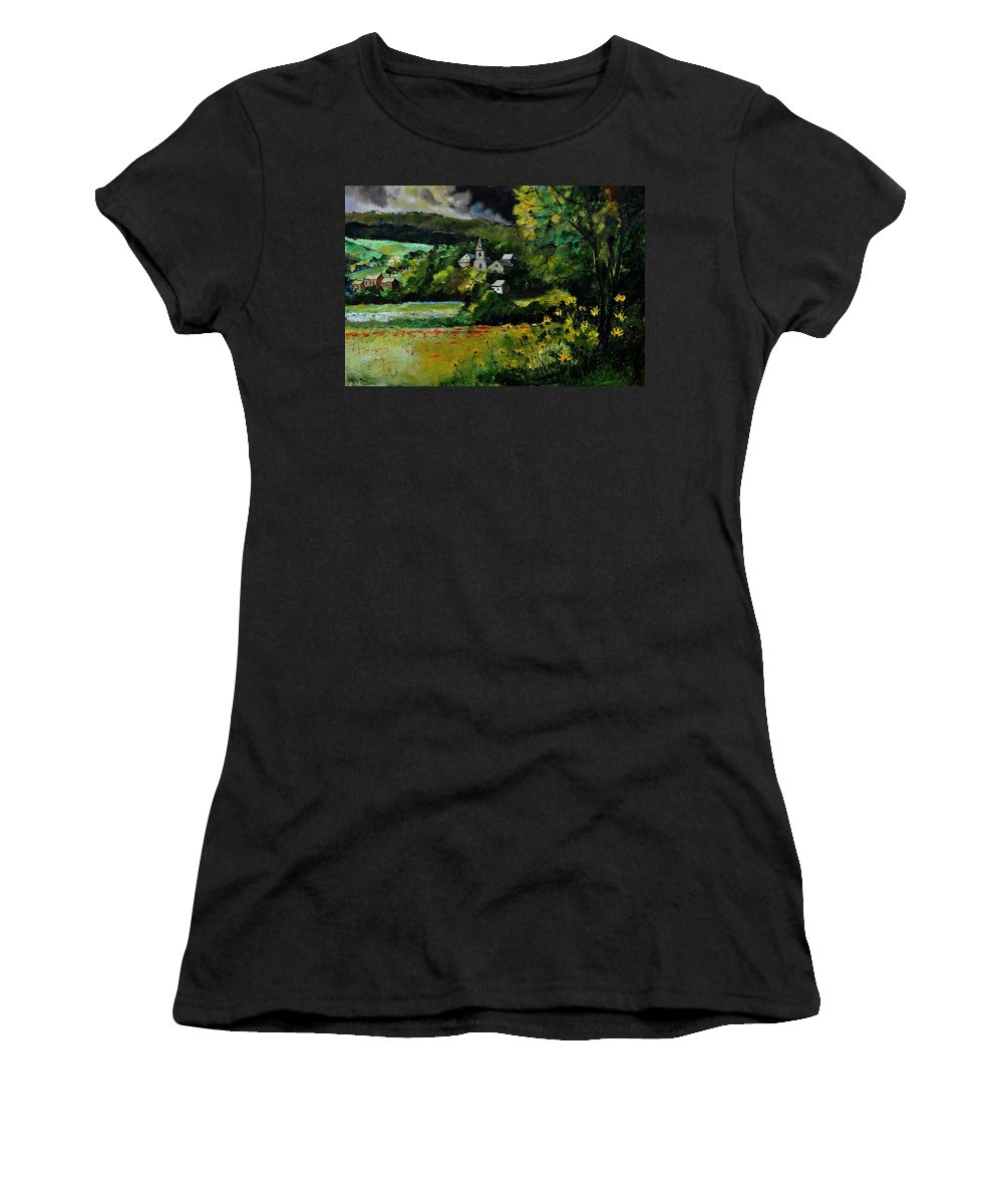 Village Women's T-Shirt (Athletic Fit) featuring the painting Lesterny 79 by Pol Ledent