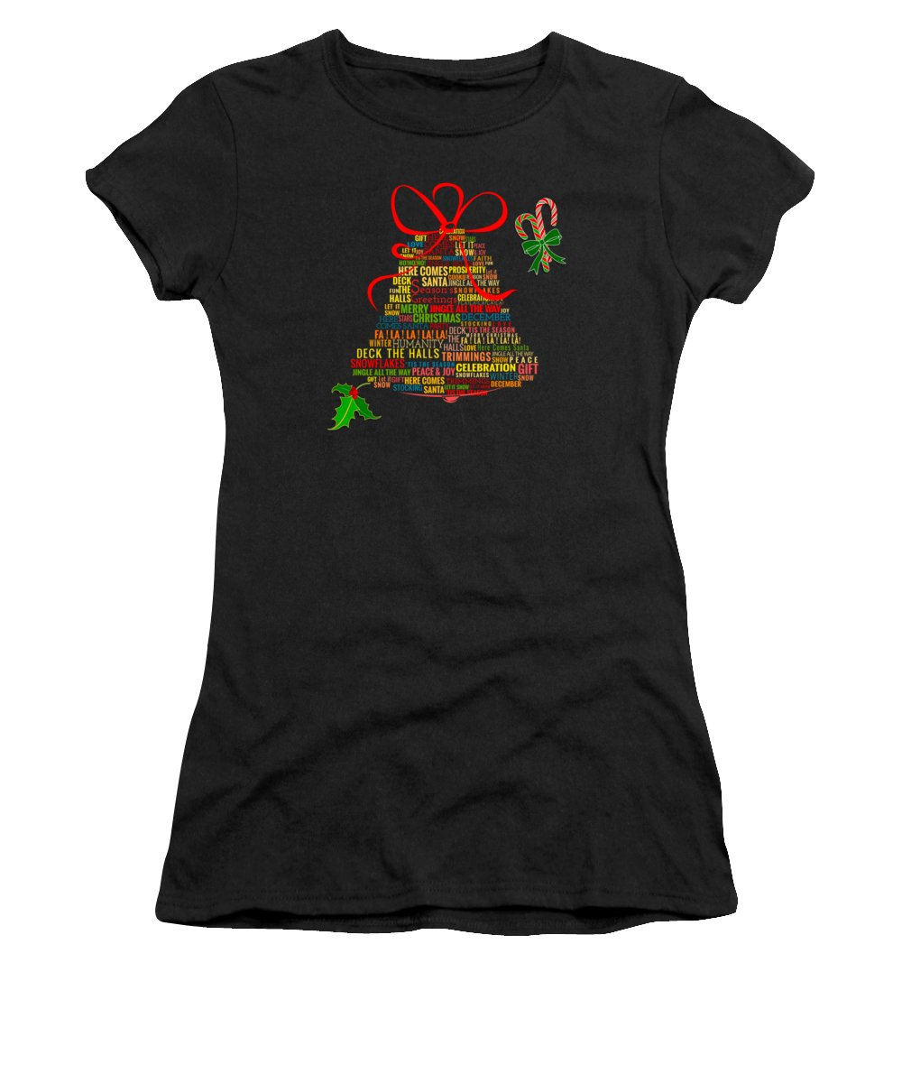 Ribbon Women's T-Shirt featuring the digital art Let It Ring Words by Peter Awax