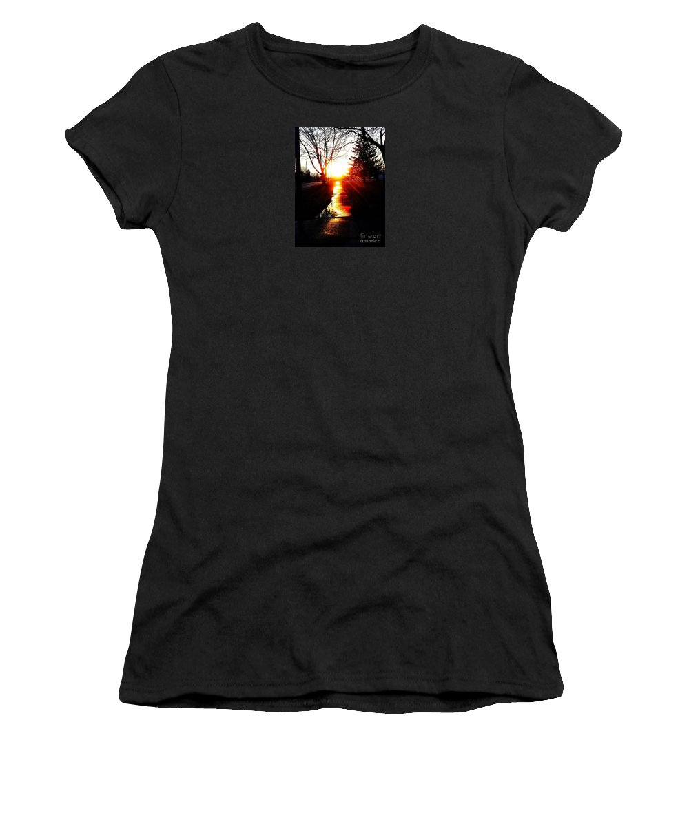 Sun Women's T-Shirt (Athletic Fit) featuring the photograph Let The Sun Light Your Path by Jo-Ann Hayden