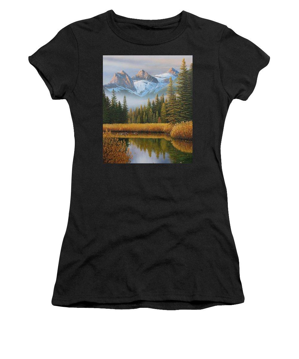Landscape Women's T-Shirt (Athletic Fit) featuring the painting Let There Be Light by Jake Vandenbrink