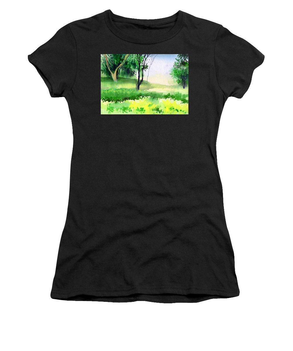 Watercolor Women's T-Shirt (Athletic Fit) featuring the painting Let's Go For A Walk by Anil Nene
