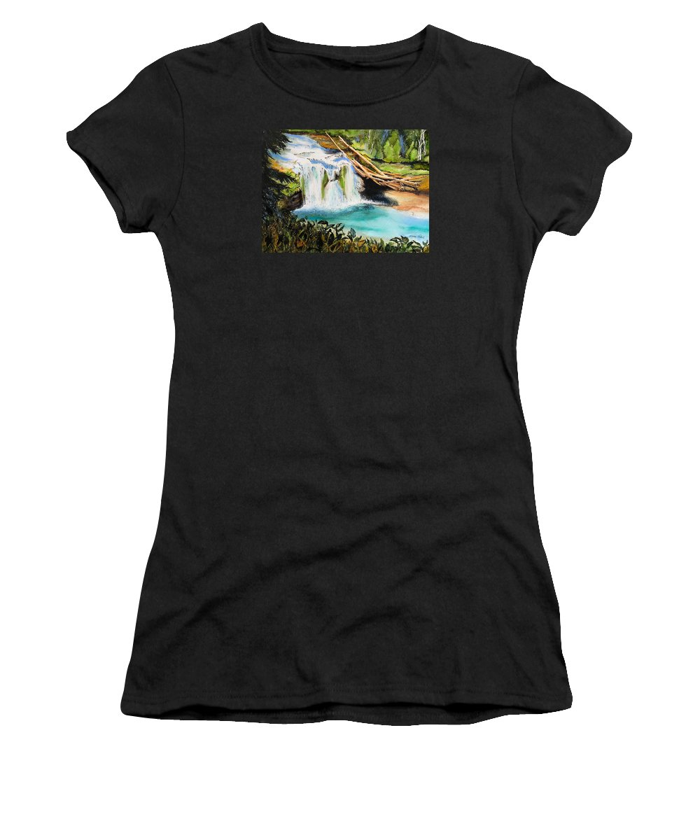 Water Women's T-Shirt (Athletic Fit) featuring the painting Lewis River Falls by Karen Stark