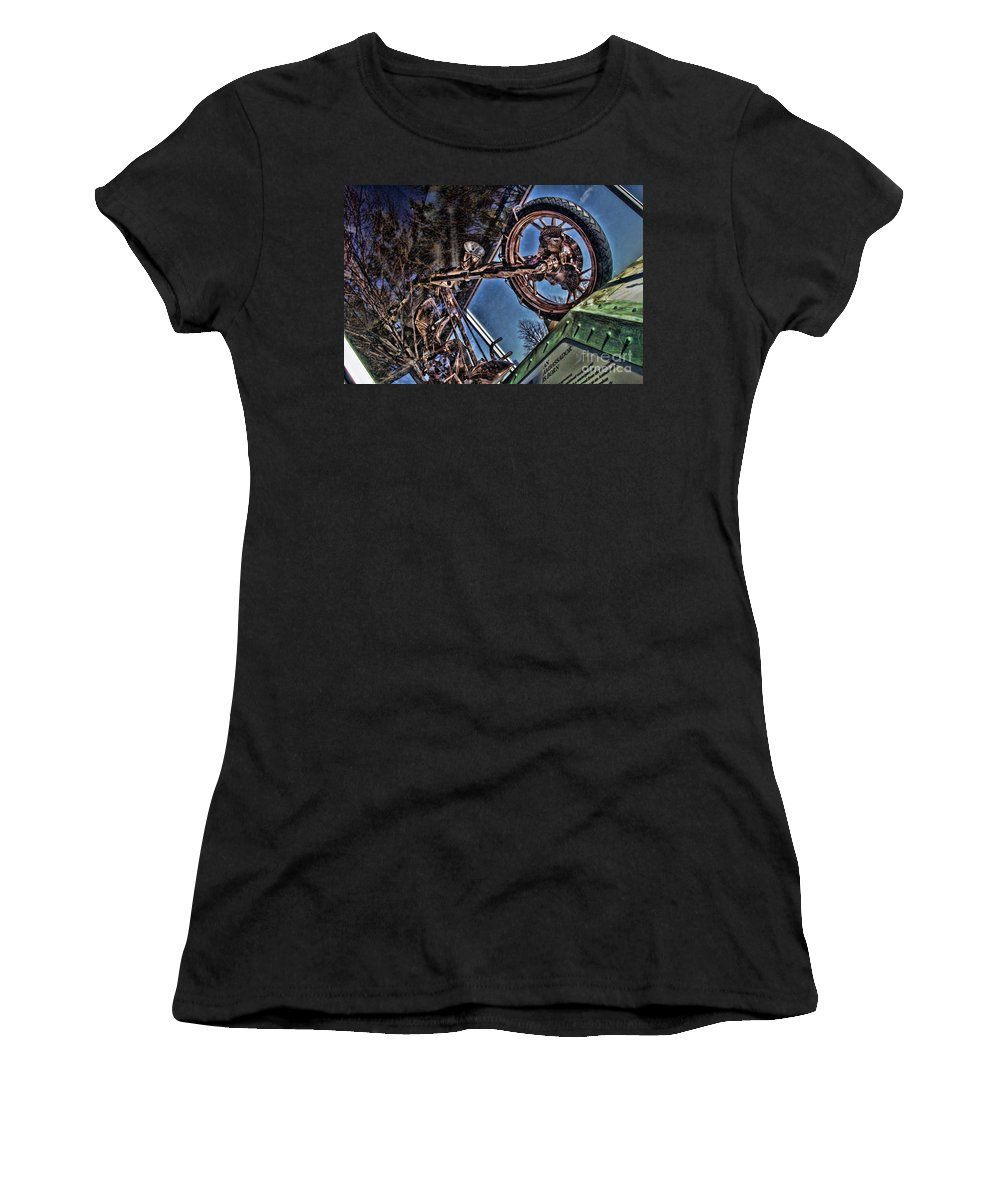 Liberty Bike Women's T-Shirt (Athletic Fit) featuring the photograph Liberty Ambassador Copper Motorcycle Statue Of Liberty Ny by Chuck Kuhn