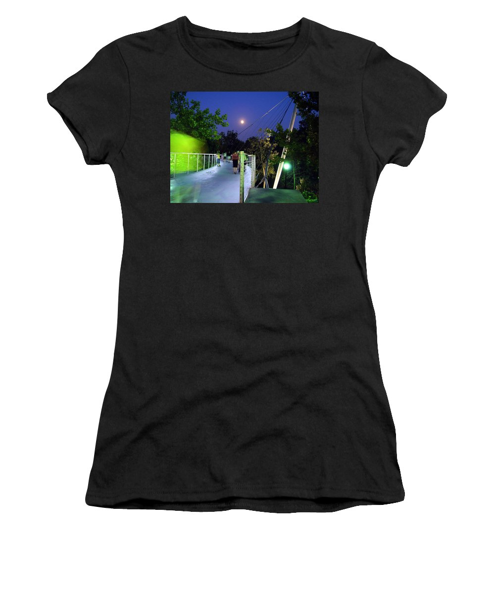 Liberty Bridge Women's T-Shirt (Athletic Fit) featuring the photograph Liberty Bridge At Night Greenville South Carolina by Flavia Westerwelle