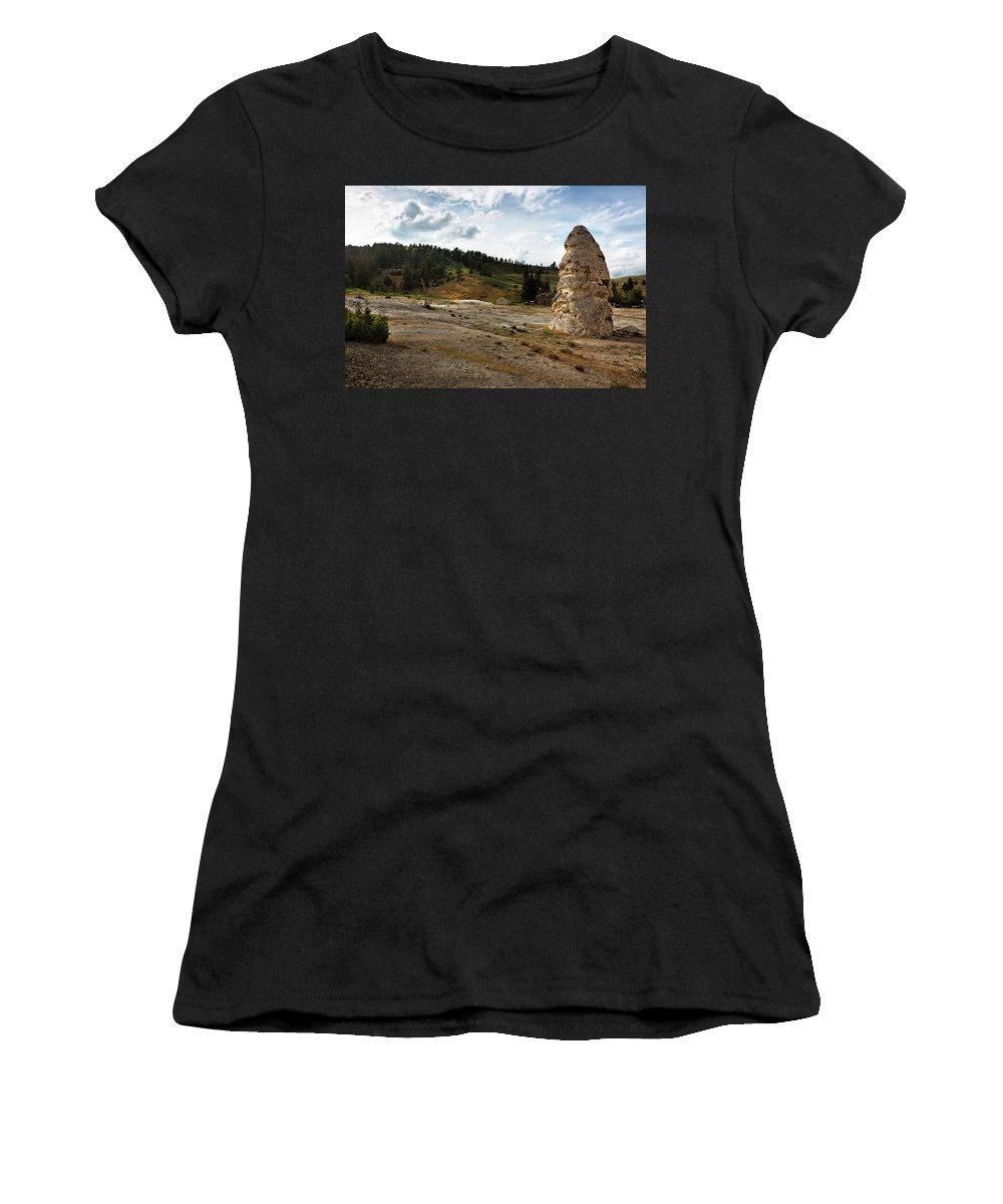 Yellowstone Women's T-Shirt featuring the photograph Liberty Cap - Yellowstone by Belinda Greb