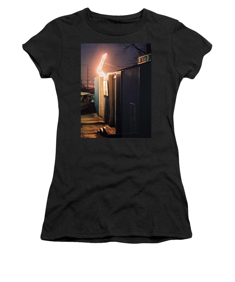 Night Scene Women's T-Shirt featuring the photograph Liberty by Steve Karol