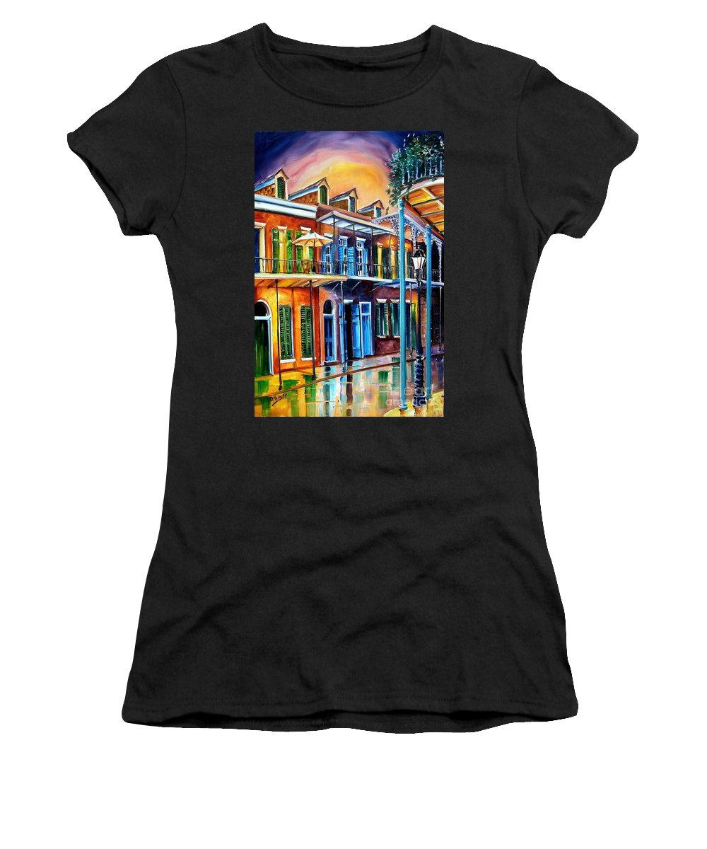 New Orleans Women's T-Shirt (Athletic Fit) featuring the painting Life After Dark by Diane Millsap