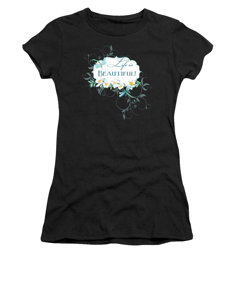 Dragonfly Women's T-Shirt featuring the painting Life Is Beautiful - Dragonflies N Daisies W Leaf Swirls N Dots by Audrey Jeanne Roberts