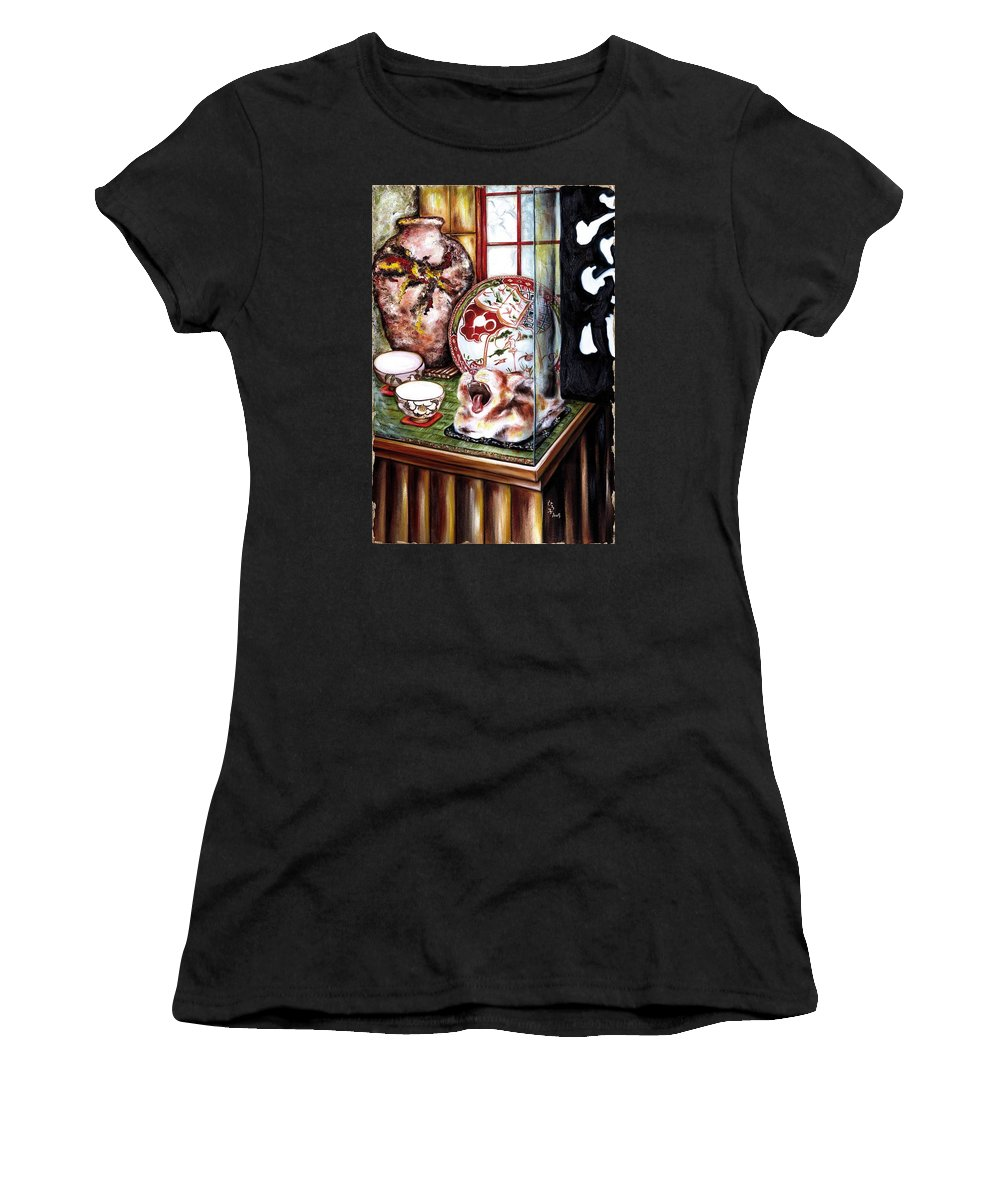 Cat Women's T-Shirt (Athletic Fit) featuring the painting Life Is Beautiful by Hiroko Sakai