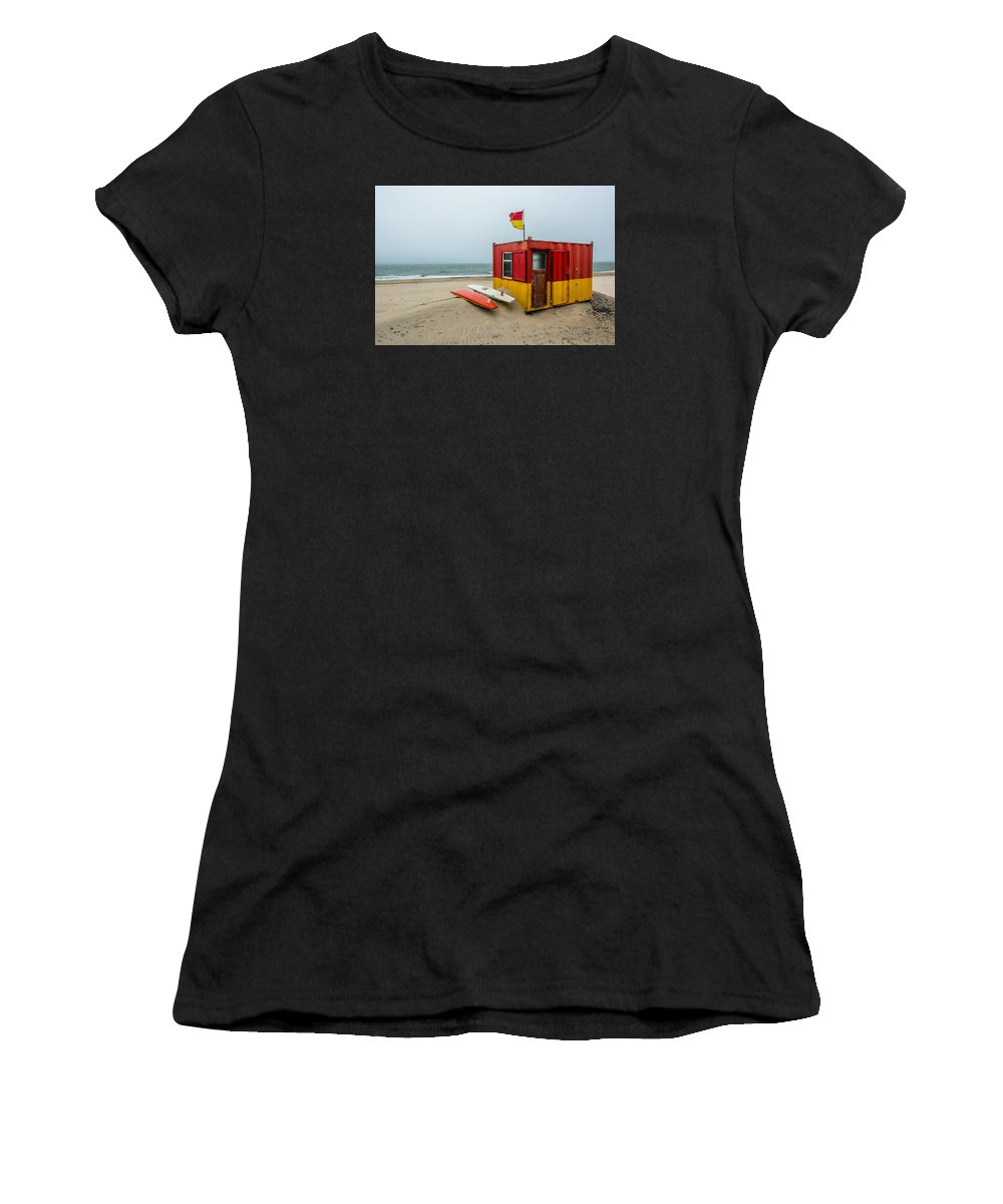 Ireland Women's T-Shirt (Athletic Fit) featuring the photograph Lifeguard Station At Brittas Bay In Ireland by Andreas Berthold