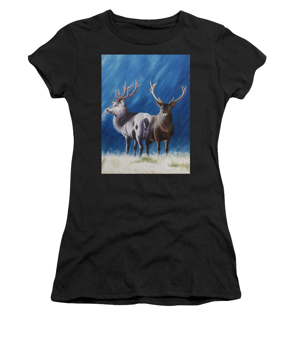 Portrait Women's T-Shirt (Athletic Fit) featuring the painting Light And Dark Stags by Pauline Sharp