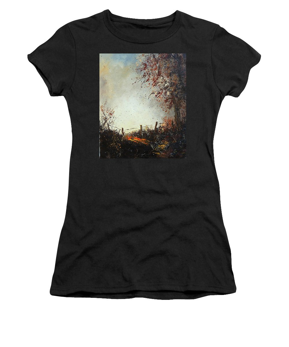 Tree Women's T-Shirt (Athletic Fit) featuring the painting Light In Autumn by Pol Ledent