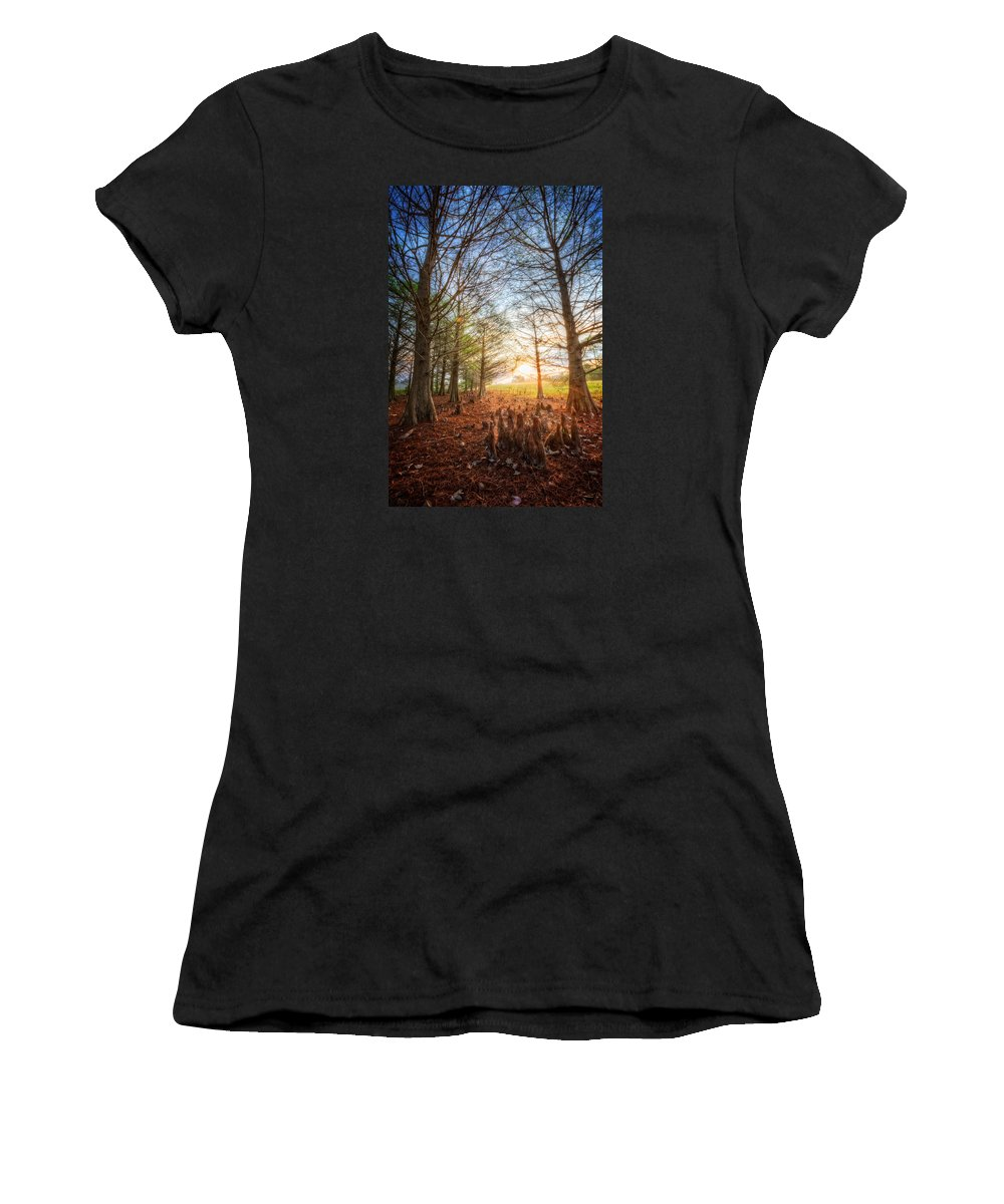 Everglade Women's T-Shirt (Athletic Fit) featuring the photograph Light In The Cypress Trees II by Debra and Dave Vanderlaan